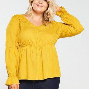 NWT! JunaRose Mustard Yellow Button Front Blouse